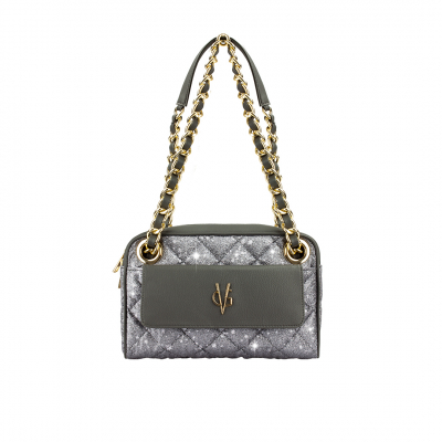VG VALENTINE BONHEUR PICCOLA - Borsa a spalla glitter grigio