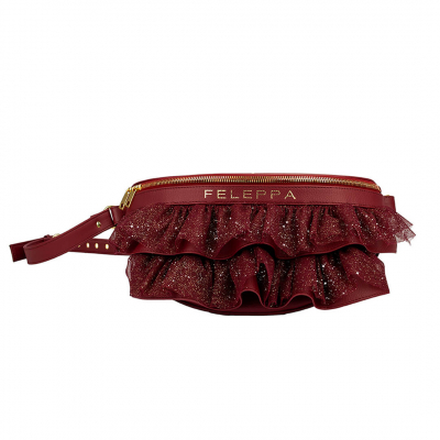 VG x FELEPPA - Bordeaux rouches tulle lurex pouch