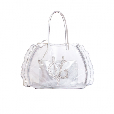 VG transparent beach bag with rouches and silver glitter