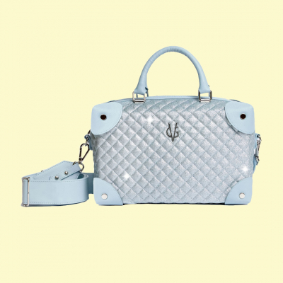 VG Medium satchel case quilted glitter thin dusty blue