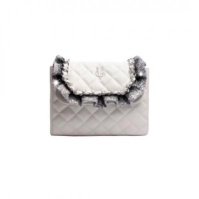 VG sac à bandoulière matelassé blanc et rouches glitter