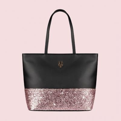 VG shopping noir & glitter rose clair