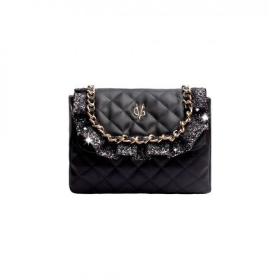 VG sac à bandoulière matelassé noir et rouches glitter gris