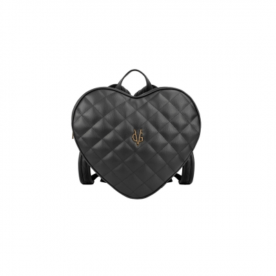 Vg black heart quilted backpack