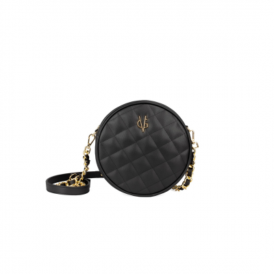 VG black quilted small round bag