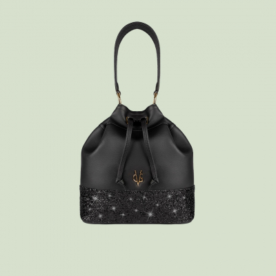 VG black bucket bag & black glitter