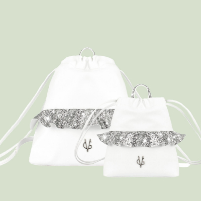 VG silver glitter rouches backpack set Mamy & Baby