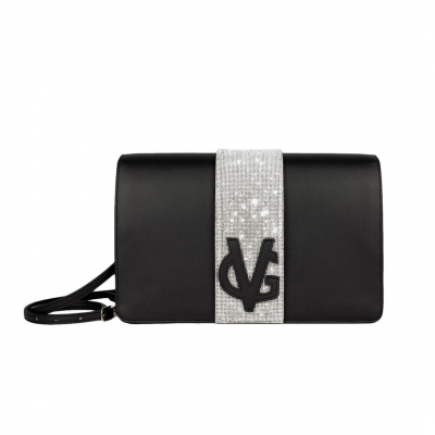 VG Clutch in cristalli nera