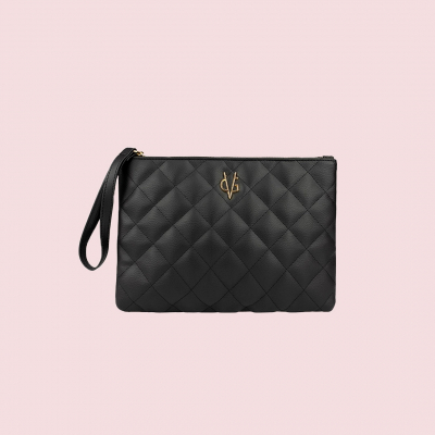 VG black quilted clutch