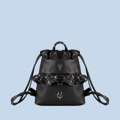 VG black glitter rouches baby backpack