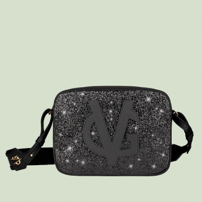 VG black shoulder big soap bag & black glitter