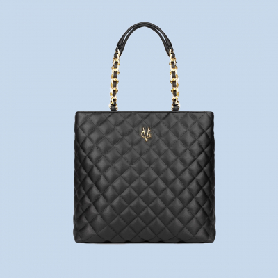 VG black quilted shopping bag