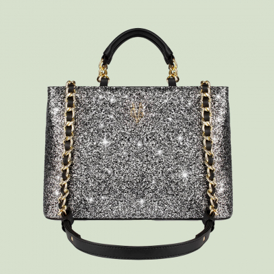 VG black handbag & salt and pepper glitter