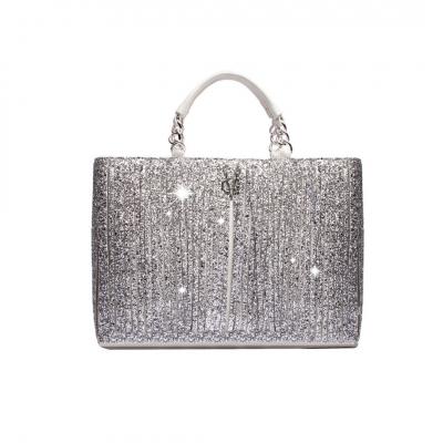 VG10 Borsa bianca frange glitter argento